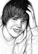 Signed Mixed Media Framed Prints - Justin bieber art drawing sketch portrait Framed Print by Kim Wang