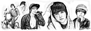 Justin Bieber Art Drawing Prints - Justin Bieber art long drawing sketch poster Print by Kim Wang