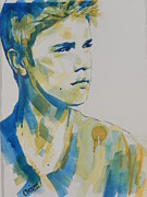 Musician Greeting Cards Paintings - Justin Bieber by Chrisann Ellis