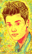 Justin Bieber Art Drawing Posters - Justin Bieber In Line Poster by Kenal Louis