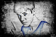 Boy Digital Art Originals - Justin Bieber by Jessica Grandall