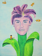 Children Print Painting Originals - Justin Bieber Painting by Jeepee Aero