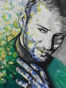 Whites Paintings - Justin Timberlake...01 by Chrisann Ellis