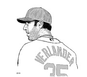 Cy Young Digital Art Prints - Justin Verlander Black and White Portrait Print by CJ Grant