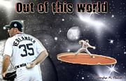 Baseball Artwork Prints - Justin Verlander Out of This World  Print by Christopher Finnicum