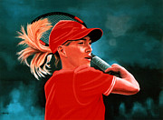 Belgian Tennis Player Paintings - Justine Henin  by Paul  Meijering