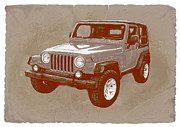 Whistles Posters - Justjeepns 2005 Jeep Wrangler Rubicon car art sketch poster Poster by Kim Wang