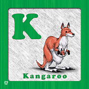 Kangaroo Drawings - K fo Kangaroo by Jason Meents