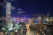 Hong Kong Tapestries Textiles - K11 in Tsim Sha Tsui in Hong Kong at Night by Lars Ruecker