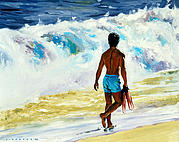 Oahu Painting Framed Prints - Ka Nalu Framed Print by Douglas Simonson