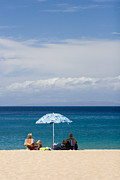Hawaiian Islands Posters - Kaanapali Beach in Maui Poster by David Smith
