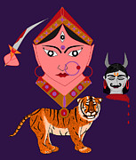 Goddess Durga Digital Art Prints - Kaatyayani Print by Pratyasha Nithin