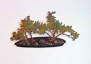 Forest Sculpture Posters - Kabudachi Ishitzuki Copper Bonsai Poster by Vanessa Williams