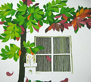 Tree Art Print Drawings Framed Prints - Kadamba in October Framed Print by Saket Mehendale