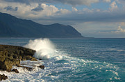 Paradise Point Prints - Kaena Point State Park Crashing Wave - Oahu Hawaii Print by Brian Harig