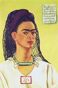 Activist Painting Prints - Kahlo Self Portrait Print by Pg Reproductions