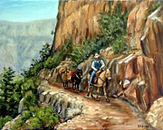 Rim Paintings - Kaibab Trail Grand Canyon Mule Runner by Dottie Dracos