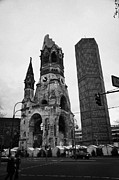 Christmas Market Prints - Kaiser Wilhelm Gedachtniskirche memorial church new bell tower and christmas market Berlin Germany Print by Joe Fox
