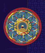 Tibet Mixed Media Prints - Kalachakra Astromedical Diagram Print by Chris  Banigan