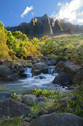 Beautiful Creek Posters - Kalalau Valley Stream Poster by Brian Harig