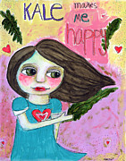 Healthy Mixed Media Posters - Kale makes me happy Poster by AnaLisa Rutstein