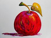 Food And Beverage Painting Metal Prints - Kaleidoscope APPLE -- or -- Apple for the Teacher  Metal Print by Eloise Schneider