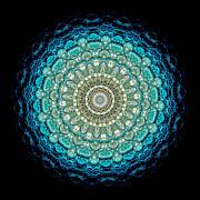 Kaleidoscope Aquamarine Bubbles Print by Amy Cicconi