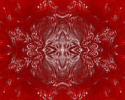 Gleem Posters - Kaleidoscope in Red and White Poster by Gina Manley