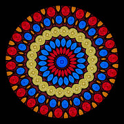 Embroidered Framed Prints - Kaleidoscope of Colorful Embroidery Framed Print by Amy Cicconi
