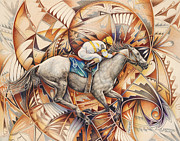 Jockey Painting Framed Prints - Kaleidoscope Rider Framed Print by Ricardo Chavez-Mendez