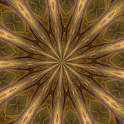 Kaleidoscope Metal Prints - Kaleidoscope With Gold Metal Print by Deborah Benoit