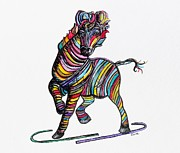 African Dance Mixed Media Posters - Kaleidoscope Zebra -- Baby Strut Your Stuff  Poster by Eloise Schneider
