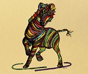 Dance Prints - Kaleidoscope Zebra -- Baby Strut Your Stuff on Beige  Print by Eloise Schneider