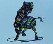 Zebra Framed Prints - Kaleidoscope Zebra -- Baby Strut Your Stuff on Blue  Framed Print by Eloise Schneider