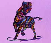 Whimsical Mixed Media - Kaleidoscope Zebra -- Baby Strut Your Stuff on Lavender  by Eloise Schneider