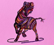 Pets Mixed Media - Kaleidoscope Zebra -- Baby Strut Your Stuff on Pink by Eloise Schneider