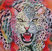 Growling Painting Prints - Kaleidoscopic Growl Print by Charlene Maguire