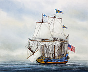 Historic Ship Painting Prints - Kalmar Nyckel Print by James Williamson