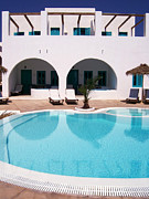 Unwind Framed Prints - Kamari Swimming Pool 02 Framed Print by Antony McAulay