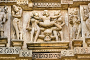 Orchha Framed Prints - Kamasutra scene - Khajuraho. Framed Print by Luciano Mortula