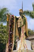 Aliiolani Prints - Kamehameha Covered in Leis Print by Brandon Tabiolo