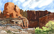 Moab Painting Prints - Kane Creek Trailhead Print by Jeff Mathison