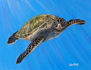 Green Sea Turtle Pastels - Kaneohe by Laurie Klein