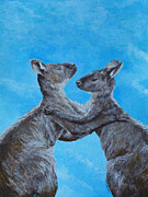 Kangaroos Paintings - Kangaroo Island Kangaroos by Margaret Saheed