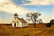Kansas Landscape Art Framed Prints - Kansas Church Framed Print by Marty Koch