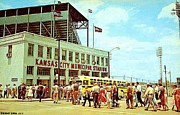Baseball Stadiums Framed Prints - Kansas City Municipal Stadium In The 1950s Framed Print by Dwight Goss
