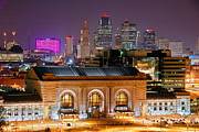 Kansas City Metal Prints - Kansas City Skyline at Night KC Downtown Color Panorama Metal Print by Jon Holiday