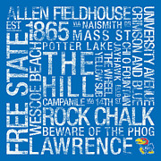 Chalk Posters - Kansas College Colors Subway Art Poster by Replay Photos