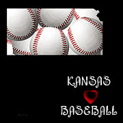 Abstract Map Posters - Kansas Loves Baseball Poster by Andee Photography