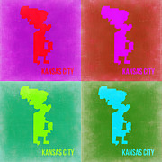 World Map Digital Art Metal Prints - Kansas Pop Art Map 2 Metal Print by Irina  March